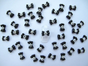 Nail Art 3d 40 Black/White Flower BOW /RHINESTONE for Nails, Cellphones 1.2cm