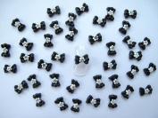 Nail Art 3d 40 Black/White Flower BOW /RHINESTONE for Nails, Cellphones 1.2cm
