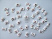 Nail Art 3d 40 White/Pink Flower BOW /RHINESTONE for Nails, Cellphones 1.2cm