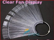 20 Clear Nail Tips Nail Art Display Fan-Shaped with Ring Handle