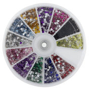 Premium MASH 1200 Piece 12 Colour Nail Art Nailart 3D Design Heart Shape Rhinestones