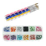 5X 2-Way Acrylic Nail Art Brush Pen Cuticle Pusher with 2000pcs Nail Art Rhinestones Tips+Case