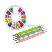 12 Colours Dried Flowers Nail Art Decoration in Wheel + 5pcs Dotting Tool Pen Set