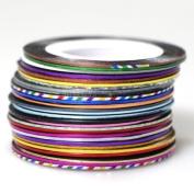 New 29 Pcs Mix Colours Nail Rolls Striping Tape Line Nail Tips Decoration Sticker
