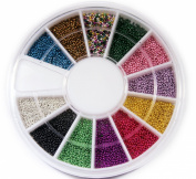 12 Colours Mini Beads Ball NAIL ART 3D Decoration In Wheel with Bonus Sample