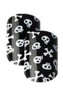 Cala Little Miss Nails Press On Set in Black #87873 with Skulls and Crossbones + Aviva nail File