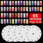 5 Airbrush Nail Art Stencil Sheet Pattern Kit Pages 16-20