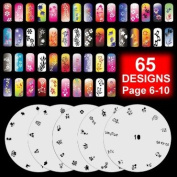 5 Airbrush Nail Stencil Sheet Art Paint Design Set Pages 6-10