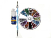 3D 2300pcs Round Nail Art Rhinestone Gems Wheel with Dotting Tool and Glue Nail Art Kit
