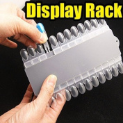 24 Clear Nail Tips Nail Art Display Palette with Removable tips