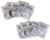 Bundle Monster 10 Nail Art Nailart Manicure Wheels w/ 3D Designs Glitters Rhinestones Beads - total over 14000pc