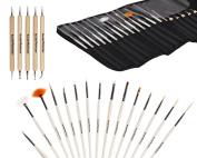 Bundle Monster New Pro 20pc Nail Art Design Painting Detailing Brushes & Dotting Pen / Dotter Tool Kit Set