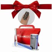 Nail Strips Bling Heart +Swisa Cuticle Oil+ A-viva Nail Kit - Buffer+Eco Nail File +Red Box