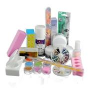 LuckyStore Acrylic Powder Liquid Glitter Strip French Nail Art Manicure UV Gel Tip Full Set