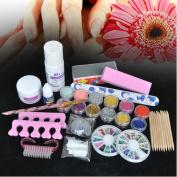 350buy Basic Acrylic 6 Powder Liquid KITS NAIL ART TIP KIT 6 Glitter Tool