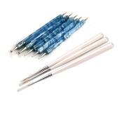 3 Pcs Sable Nail Art Detailing Drawing Painting Brush + 5 X 2 Way Marbleizing Dotting Pen Tools Set
