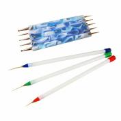 Winstonia 5pc Nail Art Dotting Tools + 3pc Detail Drawing Painting Brushes Set