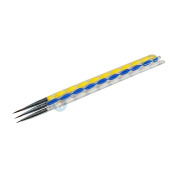 3pcs Nail Art Sable Painting Drawing Brushes Pens with Cuticle Pusher Ends - Tiny Tips for Lines, Strokes, Details