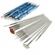 15Pcs Nail Art Design Painting Drawing Brushes White + 5 X 2 Way Marbleizing Dotting Pen Tools Set