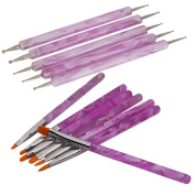 7Pcs UV Gel Acrylic Nail Art Painting Detailing Brushes + 5 X 2 Way Marbleizing Dotting Pen Set
