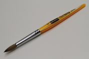 Osaka Finest 100% Pure Kolinsky Brush, Size # 6, Made in Japan, Orange Marble Handle