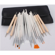 20pc Nail Art Design Painting Detailing Brushes & Dotting Pen Tool Kit Set -15 Brush + 5 Dotting Pen