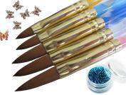 5 x 2 Ways Spiral Tool Sable Acrylic Nail Art Brushes Pen Cuticle Pusher Plus Bonus Glitter Powder