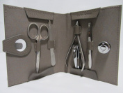 Bey-Berk Grey Leather Manicure Kit