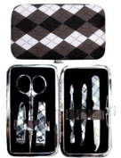 Black Argyle Manicure Set