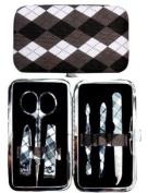 Black Argyle Manicure Set