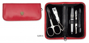 3 Swords - 5 Piece Manicure & Pedicure Kit, made of high quality artificial leather in red, Quality