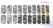 Nail Strips Bling Zebra +Swisa Cuticle Oil+ A-viva Nail Kit - Buffer+Eco Nail File +Red Box