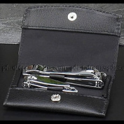 Manicure Set, Black Leather