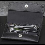 Manicure Set, Black Leather