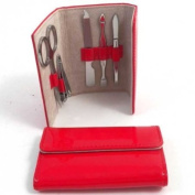 5 pcs. Manicure Set, Red Leather, BB216R