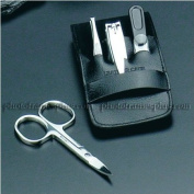 4 Pieces Travel manicure Set, Black Leather Case