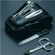 5 Pieces Travel manicure Set, Black Leather Case