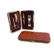 "5 Piece Manicure Set, Brown ""Croco"" Leather. Tarnish Proof"