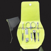5 Piece Manicure Set, Black Leather Case