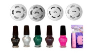 French Manicure 4x Image Plates M19.m44.m45.m56 + 5x Special Polish+2way Stamper Nail Art