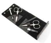 "Ladies Manicure Set in Black "" KROKO"" Leather Case. Made by Niegeloh in Solingen, Germany"