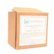 Fair Trade, Handmade Natural Olive Oil Soap Starter Gift Set - Lavender Essential Oil, Laurel, and Pure Unscented Soaps