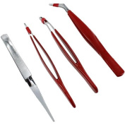 Coated Metal Tweezer Set - 4pcs