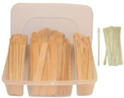 300 Piece Wood Wax Applicators In Plastic Storage Case ** With Free 25 Eyebrow Wood Applicators
