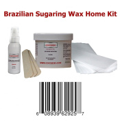 240ml Cocojojo Sugaring Brazilian Sugaring Wax Kit - Sugaring Hair Removal - 240ml Sugar Wax - 60ml After Sugaring Toner - 6 Strips - 2 Wooden Spatulas for Bikini Waxing Hair Removal