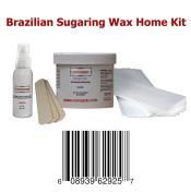240ml Cocojojo Sugaring Brazilian Sugaring Wax Kit - Sugaring Hair Removal - 240ml Sugar Wax - 60ml After Sugaring Toner - 6 Strips - 2 Wooden Spatulas for Bikini Waxing Hair Removal