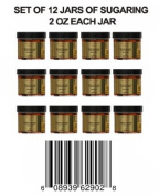 12 Jars of Sugaring 60ml Each Cleopatra Egyptian Sugar Wax Hair Removal 100% Natural Paste - 100% Organic and Natural with Egyptian Calendula and Chamomile - Epilation Waxing - Sugaring Hair Remover - Sugaring Gel - Vegan