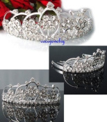 Exquisite Clear Crystal Prom Wedding Tiara comb H86