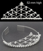 Silver Tone Bridal Wedding. Crystal Pearl Tiara T94
