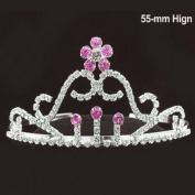 Hot Pink Bridal Tiara WEDDING CROWN VEIL. CRYSTAL 063